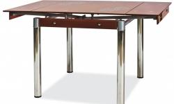 SIGNAL GD-082 jedálenský stôl chrómová / priehľadná / hnedá