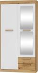 MEBLOCROSS Maximus MXS-04 2D šatníková skriňa so zrkadlom dub artisan / biely lesk