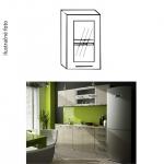Kuchynská skrinka, ľavá, dub sonoma/biela, strieborné orámovanie/sklo, IRYS GW-40
