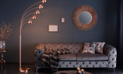 LuxD 16885 Stojanová lampa Qualle medená Stojanové svietidlo