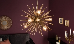 LuxD 21143 Dizajnové závesné svietidlo Abram, 50 cm, zlaté závesné svietidlo