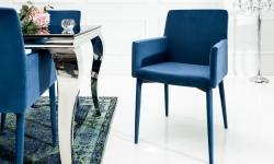 LuxD 21488 Dizajnová stolička s podrúčkami Neapol, kráľovská modrá