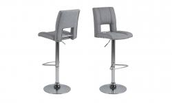Dkton Dizajnová barová stolička Almonzo, svetlosivá / chrómová