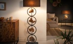 LuxD 24167 Stojanová lampa Factor 147 cm čierna - akácia Stojanové svietidlo