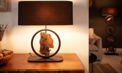 LuxD 24203 Dizajnová stolná lampa Factor 55 cm čierna - akácia