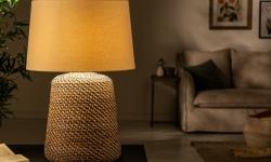LuxD 24280 Ratanová stolná lampa Terrell 82 cm sivá - béžová