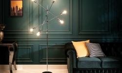 LuxD 24977 Dizajnová stojanová lampa Walter strieborná Stojanové svietidlo