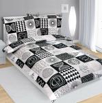 Bellatex Bavlnené obliečky sivo-čierna, 140 x 200 cm, 70 x 90 cm