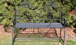 Kovový záhradný nábytok lavička čierna
